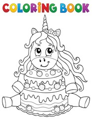Photo sur Plexiglas Enfants Coloring book unicorn with cake 1