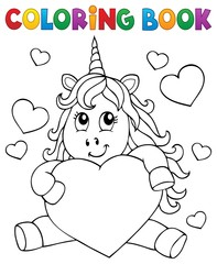 Photo sur Aluminium Enfants Coloring book Valentine unicorn theme 1