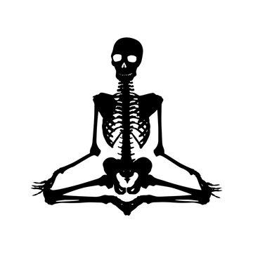 Human skeleton silhouette in Lotus pose. Halloween clip art on white background