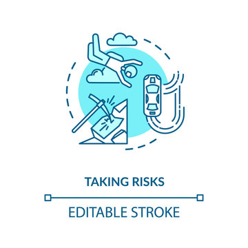Taking risks concept icon. Extreme recreational sport, personal growth idea thin line illustration. Search for excitement, adrenaline rush. Vector isolated outline RGB color drawing. Editable stroke