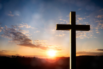 Fototapeta Crucifix cross at sunset background, crucifixion of Jesus Christ obraz