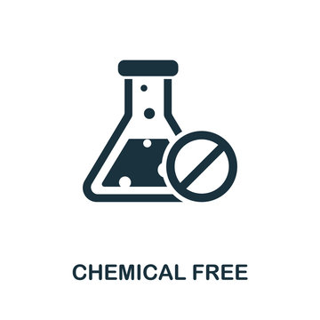 Chemical Free icon from organic farming collection. Simple line Chemical Free icon for templates, web design and infographics