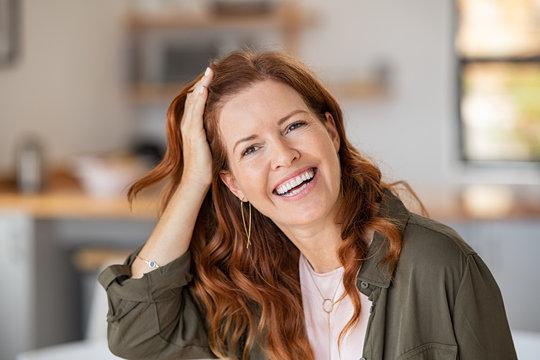Mature beautiful woman laughing
