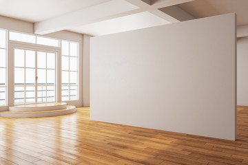 Minimalistic gallery interior with city view and blank wall
