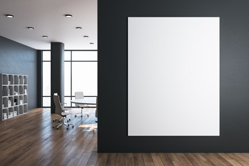 Fotomurales - Modern meeting room with blank poster on gray wall.