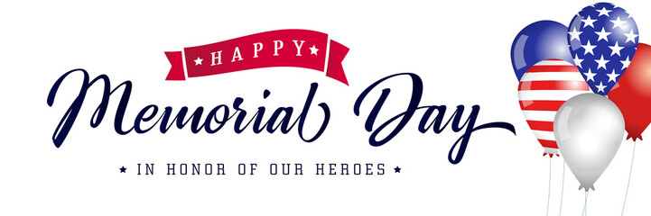 Happy Memorial Day typography poster, american balloons with flags. Memorial Day USA, flag vector illustration background Fotomurales