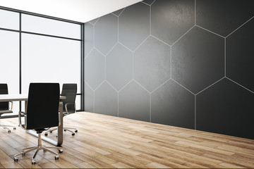 Fotomurales - Minimalistic conference interior with abstract blank honeycomb wall.