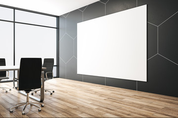 Luxury meeting interior with blank poster on abstract honeycomb wall.