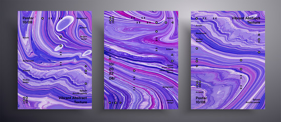 Fototapete - Abstract acrylic banner, fluid art vector texture pack. Beautiful background that applicable for design cover, invitation, flyer and etc. Purple, pink and blue creative iridescent artwork