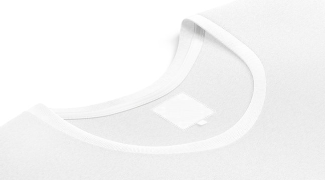 Blank white t-shirt collar with square label mockup, side view