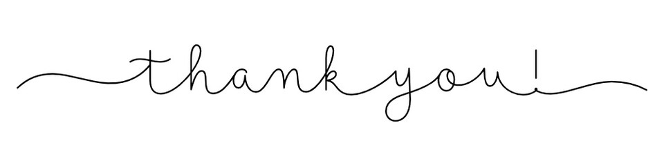 THANK YOU! black vector monoline calligraphy banner with swashes