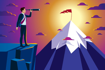 Businessman looking for opportunities in spyglass standing on top peak of mountain business concept vector illustration, successful young handsome business man searches new perspectives.