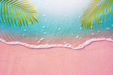 Fototapete - Top view of Blue ocean with soft form and pink  color sandy beach and palm leaves Fantasy Summer background concept