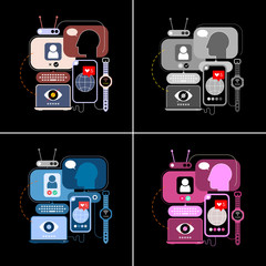 Autocollant pour porte Art abstrait 4 options of a Social Networking vector illustration. Design with computers and electronic devices isolated on a black background.
