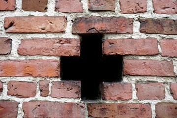 Full Frame Shot Of Hole In Brick Wall