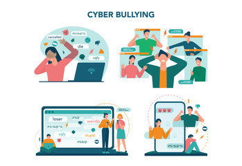 Keuken foto achterwand Hoogte schaal Cyberbullying concept set. Online harassment with unfriendly mean
