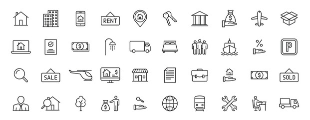 Set of 40 Real Estate web icons in line style. Rent, building, agent, house, auction, realtor. Vector illustration.