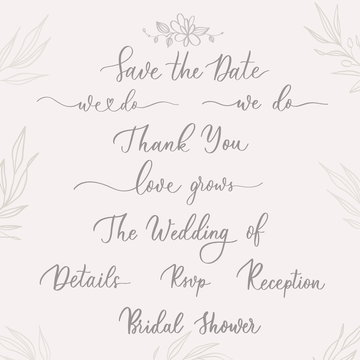 Set of Wedding calligraphic template  inscriptions  with  smooth lines.