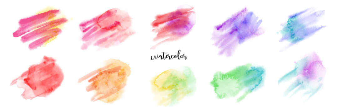 Hand drawn colorful watercolor paint brush set