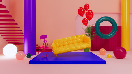 geometric room and yellow sofa in colorful background,3d rendering design