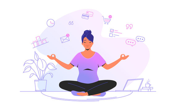 Working and meditating at home. Flat line vector illustration of cute woman sitting at home in lotus pose and concentrating before working. Time management concept design isolated on white background