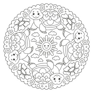 Coloring page mandala with turtle, sun, flower, cloud. Vector Illustration.