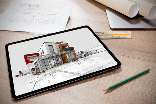 Tablette numérique avec la présentation d'un projet d'architecte de la construction d'une maison moderne 3D