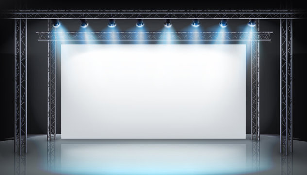 Display stand at the trade fair. Large projection screen on the stage. Show in art gallery. Free space for advertising. Vector illustration.