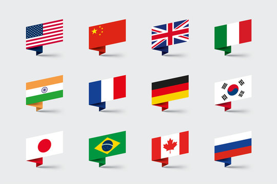 World Flags 3d Folded Paper Ribbon Shapes Vector Set
