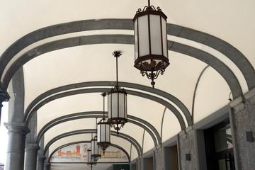 Fototapete - Historic portico of Castelfranco Emilia, Italy
