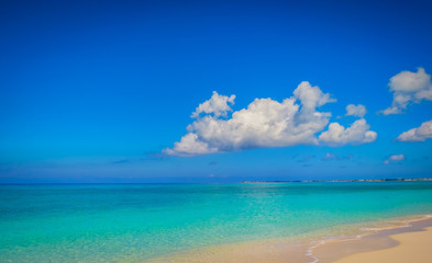 Empty Seven Mile Beach in the Caribbean during confinement, Grand Cayman, Cayman Islands
