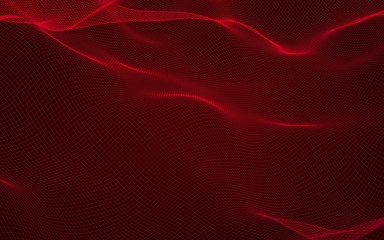 Foto op Aluminium Bordeaux Abstract landscape on a red background. Cyberspace grid. hi tech network. 3D illustration