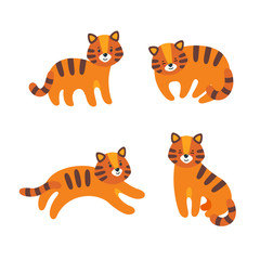 Set of four tigers in flat style. The tiger stands, runs, sits and sleeps for various prints and designs. Vector illustration