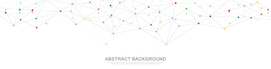 Fotobehang - Website header or banner design with abstract geometric background and connecting dots and lines. Global network connection. Digital technology with plexus background and space for your text.