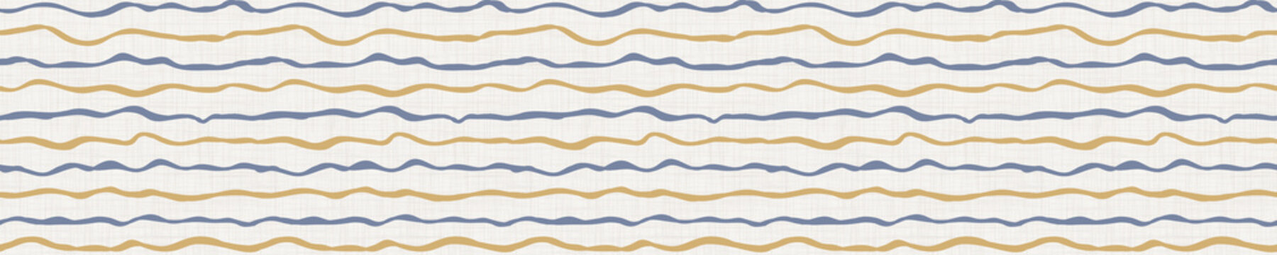 Seamless french farmhouse wavy stripe border pattern. Provence linen shabby chic style banner. Hand drawn rustic texture. Yellow blue background. Interior edging bordure. Striped textile ribbon trim