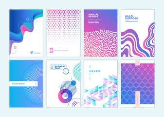 Wall Mural - Set of brochure, annual report, business plan cover design templates. Vector illustrations for business presentation, business paper, corporate document, flyer and marketing material.
