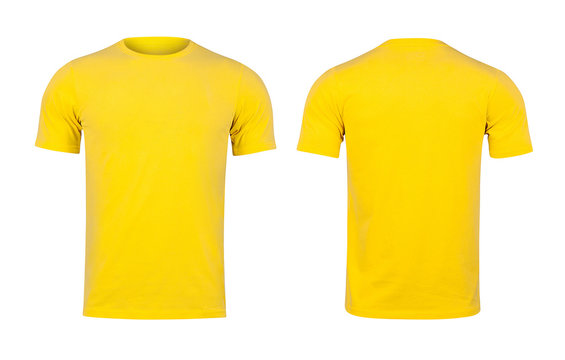 Yellow T-shirts front and back on white background.