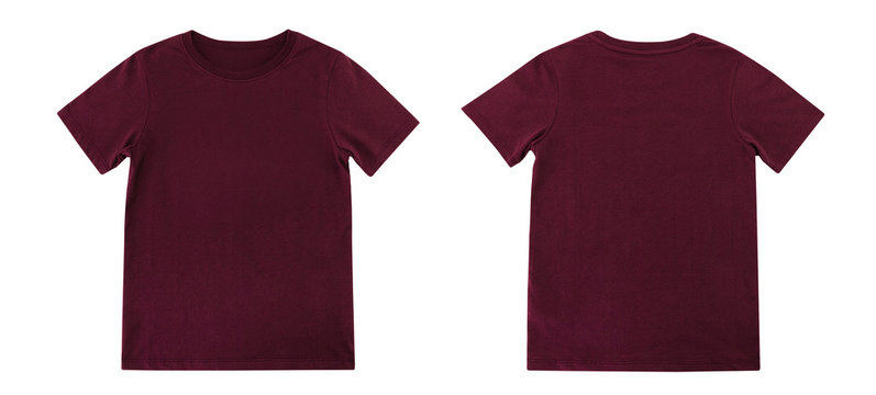 Red T-shirts front and back on white background, Maroon T-shirts