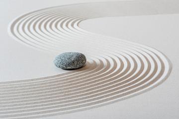 Foto op Plexiglas Stenen in het Zand japanese garden with stone in textured sand