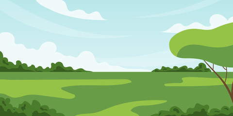 Summer fields landscape with blue sky, clouds and tree. Vector background in flat cartoon style.