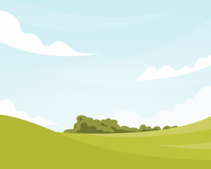 Keuken foto achterwand Lime groen Summer fields landscape with blue sky and clouds. Vector background in flat cartoon style.