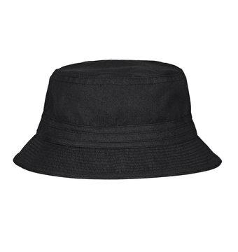 Black bucket hat on white background.