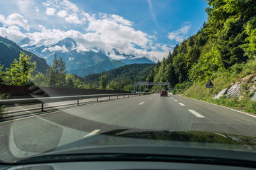 Wall Mural - Car Driver View Of Highway And Mountains In Chamonix France