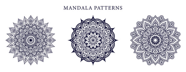 Ornamental luxury mandala pattern 3 in 1 design