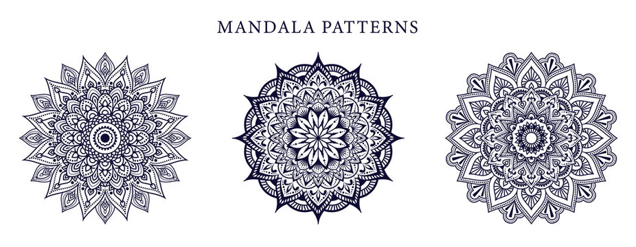 Ornamental luxury mandala pattern 3 in 1 design