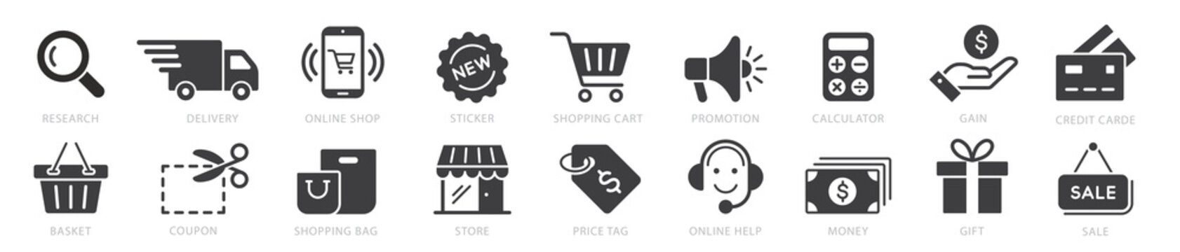 Online shopping icons set, payment elements vector illustration