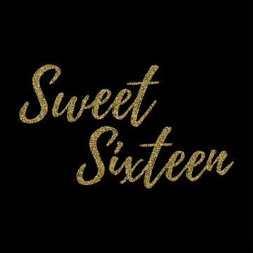 Sweet Sixteen party vector design with golden glitter elements