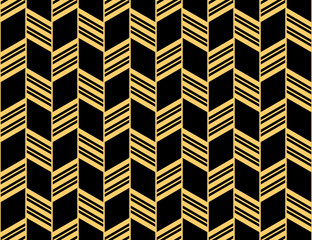 Fotorolgordijn Geometrisch Abstract geometric pattern with stripes, lines. Seamless vector background. Gold and black ornament. Simple lattice graphic design