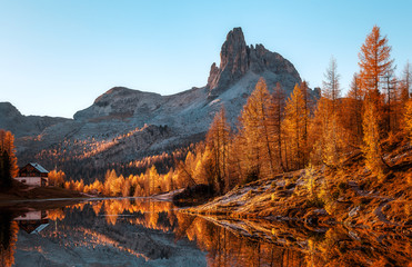 Fotomurales - Fairy tale moutain lake with picturesque sky, majestic rocky mount and colorful trees glowing sunlight. Amazing nature scenery. Federa lake. Dolomites Alps.