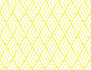 Fotorolgordijn Geometrisch Abstract geometric pattern with stripes, lines. Seamless vector background. White and yellow ornament. Simple lattice graphic design